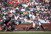San Francisco Giants right fielder Hunter Pence (8) takes a swing at a pitch against the Arizona Diamondbacks at AT&T Park in San Francisco, Calif., on August 31, 2016. (Stan Olszewski/Special to S.F. Examiner)