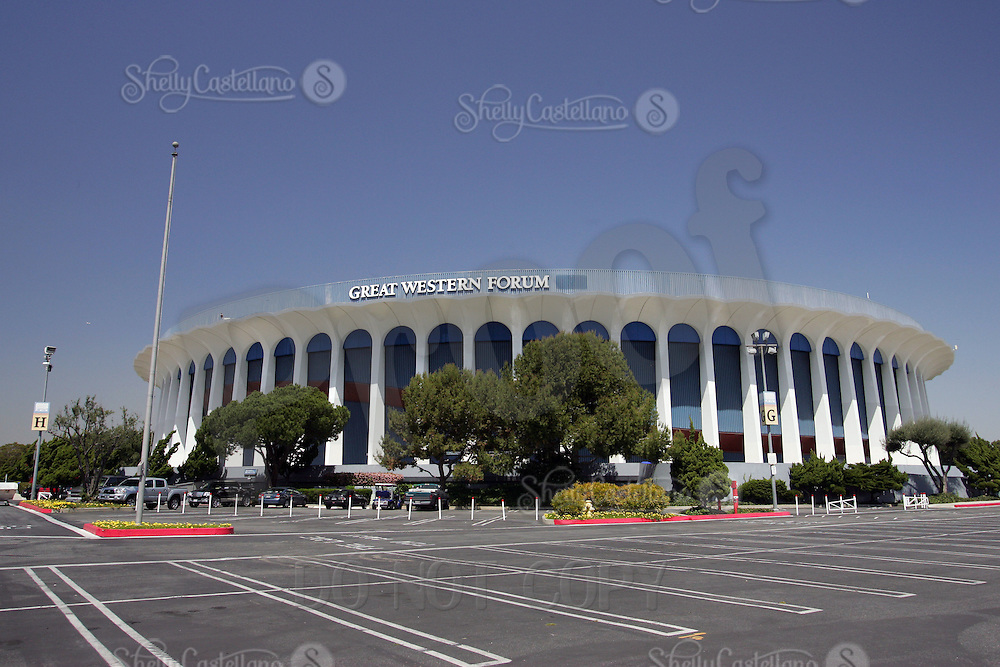 18 April 2006: Exterior view during the day of Sports Landmark Los Angeles Great Western Forum in Inglewood, California. 3900 West Manchester Boulevard, CA 90305. The Forum is currently owned by Forum Enterprises, Inc and managed by SMG. This arena was built in 1967 by Jack Kent Cooke, funded by Dr. Jerry Buss and Ogden Management, privately financed at a cost of $16 Million Dollars US.  It was the home to professional sports teams like the NHL Los Angeles Kings from 1967-1999, The NBA Los Angeles Lakers 1967-1999 and the WNBA Los Angeles Sparks as well as special events and concerts.  Located less than three miles from LAX airport and seats 17,505 fans inside the circular arena.