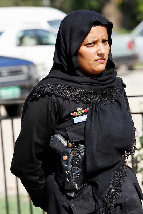 Pakistani policewoman on duty in Rawalpindi, Pakistan