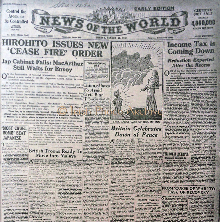 The 'News of the World' Newspaper 10th July 2011. The commemorative final edition of the newspaper carries a re-print of the Issue, marking the dropping of the atomic bomb on the Japanese city of Hiroshima in World War II. August 1945