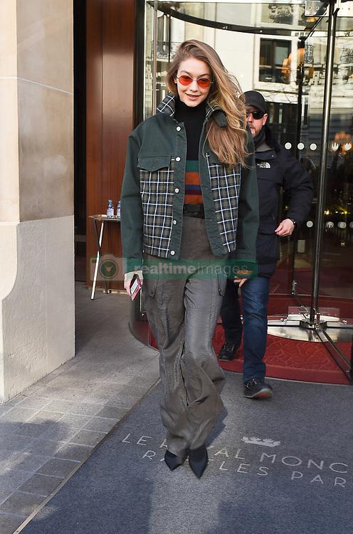 Gigi Hadid is seen leaving the Royal Monceau hotel in Paris<br /><br />28 February 2018.<br /><br />Please byline: Vantagenews.com