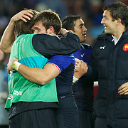 French players celebrate their victory during the Wales V France Semi Final match at the IRB Rugby World Cup tournament, Eden Park, Auckland, New Zealand, 15th October 2011. Photo Tim Clayton...