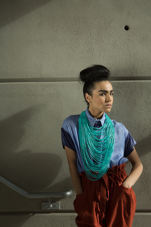 15 January 2014- Model: Jordyn Ridner<br /> is photographed in Audio Helkuik's clothing.<br /> Jewelry provided by Cibola's. Styled by Nicholas Wasserberger. Shot for The Encounter Magazine.
