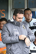 Port Vale Manager Bruno Ribiero checks his watch .EFL Skybet football league one match, Bury v Port Vale at Gigg Lane in Bury ,Lancs on Saturday 3rd September 2016.<br /> pic by Chris Stading, Andrew Orchard sports photography.