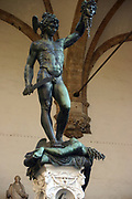 Perseus with the Head of Medusa', 1554, by Benvenuto Cellini (1500-1571) Italian goldsmith and sculptor.  Logia dei Lanzi,  Florence, Italy.