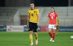 October 9, 2018 - Biel, SWITZERLAND - Belgium's Tine De Caigny look dejected during a soccer game between Switzerland and Belgium's national team the Red Flames, Tuesday 09 October 2018, in Biel, Switzerland, the return leg of the play-offs qualification games for the women's 2019 World Cup. BELGA PHOTO DAVID CATRY (Credit Image: © David Catry/Belga via ZUMA Press)