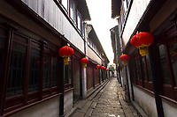 Chinese lanterns in the water town of Zhouzhuang, China