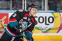 KELOWNA, CANADA - SEPTEMBER 28: Riley Stadel #3 of Kelowna Rockets warms up against the Prince George Cougars on September 28, 2016 at Prospera Place in Kelowna, British Columbia, Canada.  (Photo by Marissa Baecker/Shoot the Breeze)  *** Local Caption *** Riley Stadel;