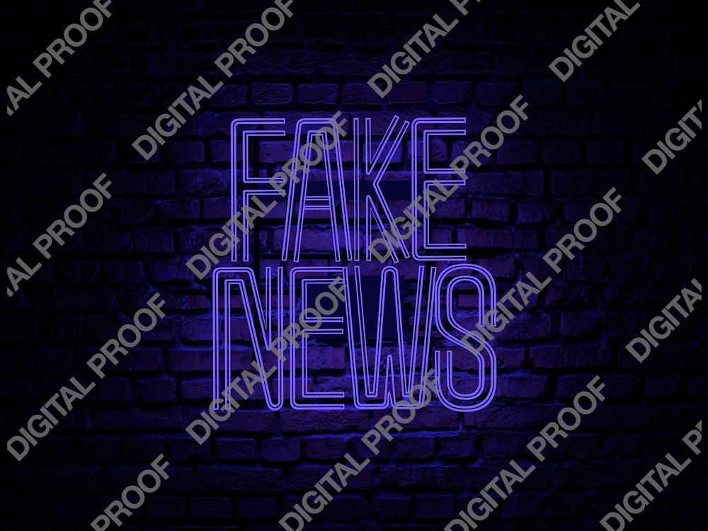 Fake News Neon Sign blue color over a red brick wall at dark - Illustration Computer Rendered - Illustration