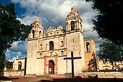 MEXICO, SOUTH, OAXACA STATE Tlacochahuaya, near Oaxaca City, site of a famous 16thC San Jeronimo church; exterior