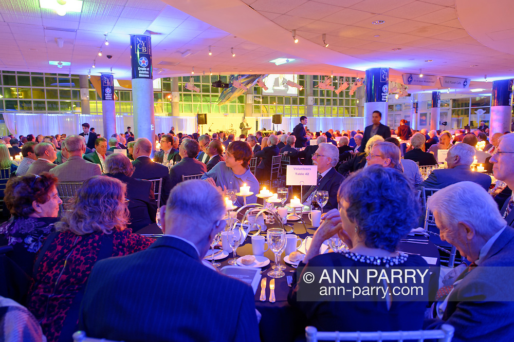 Garden City, New York, U.S. November 14, 2019. The 17th Annual Cradle of Aviation Museum Air and Space Gala helps support the development of new activities and educational programs, and honors the innovations of leaders in aviation, technical achievement, and leadership. Apollo 10 Commander Lt. Gen. Thomas P. Stafford received Spirit of Discovery Award. Perry K. Youngwall, CEO and President of Transaero Inc., received Leroy R Grumman Award. Huntley A. Lawrence, Director of Aviation Department of Port Authority of New York and New Jersey, received Aviation Leadership Award.