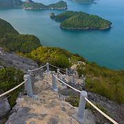 Hiking natural trail on top of Ko Wua Talap, one of Ang Thong national marine park islands, Thailand