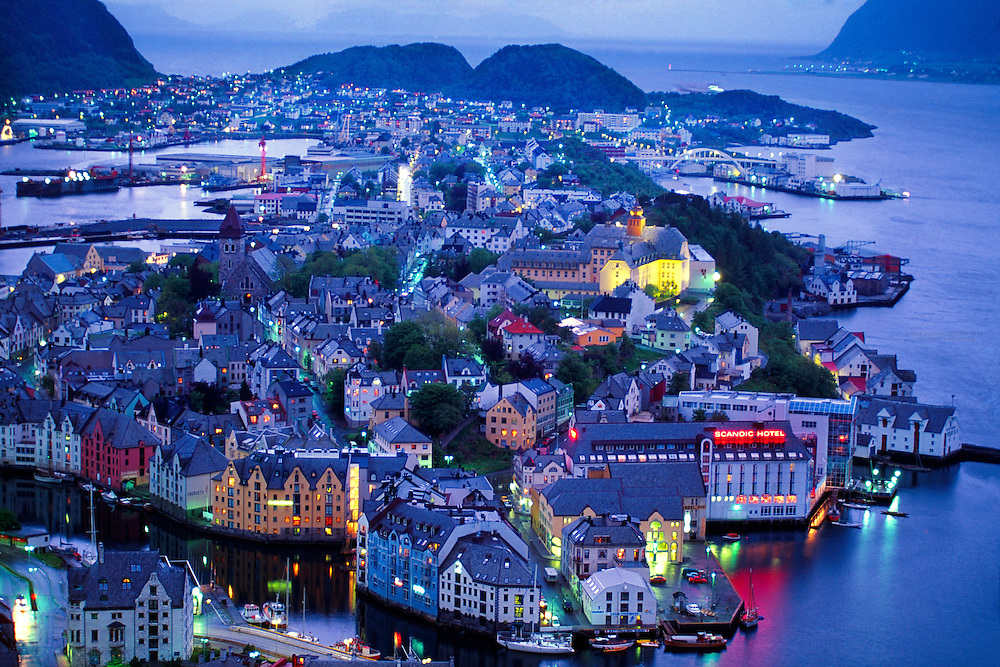 Alesund, Norway (photographed in the middle of the night during the light nights of the summer)