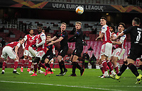 Football - 2020 /2021 UEFA Europa League - Quarter-Final - Arsenal vs Slavia Prague - Emirates Stadium<br /> <br /> The ball flies across the goal for Tomas Holes (3) of Slavia Prague to score their equalising goal in the last minute<br /> <br /> Credit : COLORSPORT/ANDREW COWIE