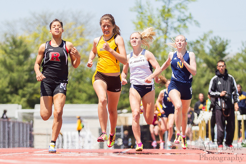 Rowan University's Vanessa Valdes competes in the women's 800 meter at the NJAC Track and Field Championships at Richard Wacker Stadium on the campus of  Rowan University  in Glassboro, NJ on Sunday May 5, 2013. (photo / Mat Boyle)