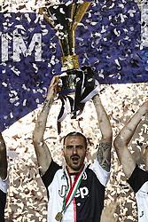 May 19, 2019 - Turin, Italy - Juventus defender Leonardo Bonucci (19) celebrates victory of italian Serie A championship after the Serie A football match n.37 JUVENTUS - ATALANTA on 19/05/2019 at the Allianz Stadium in Turin, Italy. (Credit Image: © Matteo Bottanelli/NurPhoto via ZUMA Press)