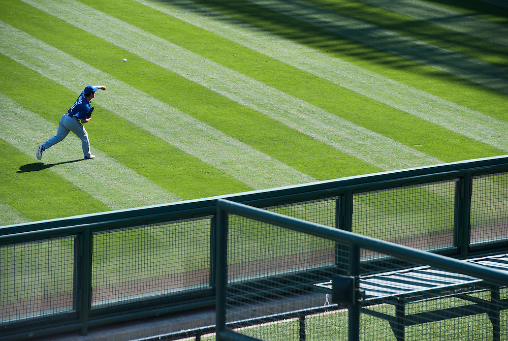Former Angel and Long Beach Dirtbag Jason Vargas plays catch before the Angels' game against the Kansas City Royals Wednesday at Angel Stadium.<br /> <br /> ///ADDITIONAL INFO:   <br /> <br /> angels.0428.kjs  ---  Photo by KEVIN SULLIVAN / Orange County Register  --  4/27/16<br /> <br /> The Los Angeles Angels take on the Kansas City Royals Wednesday at Angel Stadium.<br /> <br /> <br />  4/27/16