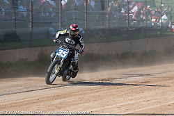 Hooligan flattracker Dave Kilkenney on his Harley-Davidson racer Spirit of Sturgis races at the fairgrounds during the Sturgis Black Hills Motorcycle Rally. Sturgis, SD, USA. Monday, August 5, 2019. Photography ©2019 Michael Lichter.