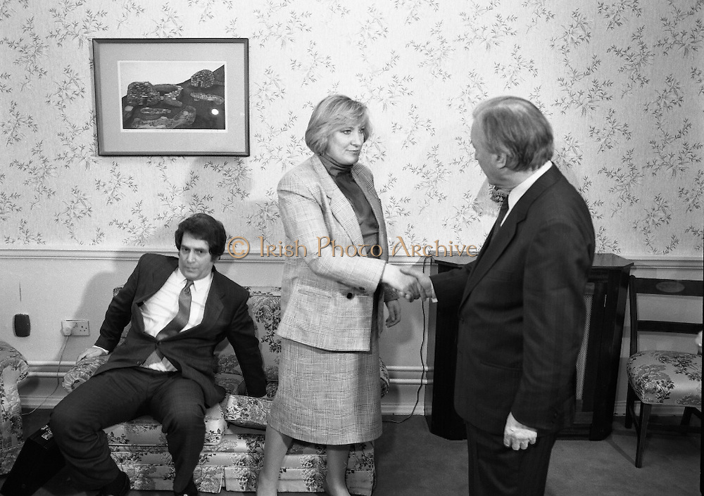 """Guildford Four"" Release Committee.  (R98)..1989..20.03.1989..03.20.1989..20th March 1989..Two of the ""Guildford Four"" release committee met with An Taoiseach, Charles Haughey,in his office in Government Buildings, Leinster House,Dublin today...Image shows Mr Errol Smalley and his wife Teresa, Secretary, Guildford Four Release Committee, who met with An Taoiseach, Charles Haughey in his offices today."