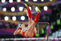 London, August 12 2017 . Ruth Beitia, Spain, in the women's high jump final on day nine of the IAAF London 2017 world Championships at the London Stadium. © Paul Davey.