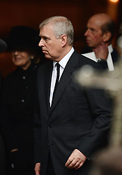 The Duke of York leaving the funeral of Countess Mountbatten of Burma at St Paul's Church, Knightsbridge, London.