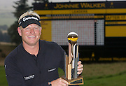 Johnnie Walker Golf Championship 2009 at Gleneagles ..30/08/09..Swede Peter Hedblom winner of the Johnnie Walker Classic, on the 18th, during the FInal Round of the Johnnie Walker Classic Golf Championship..Picture by Mark Davison/ PLPA