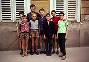 Portrait full length of group of boys, Romania, eastern Europe 1967