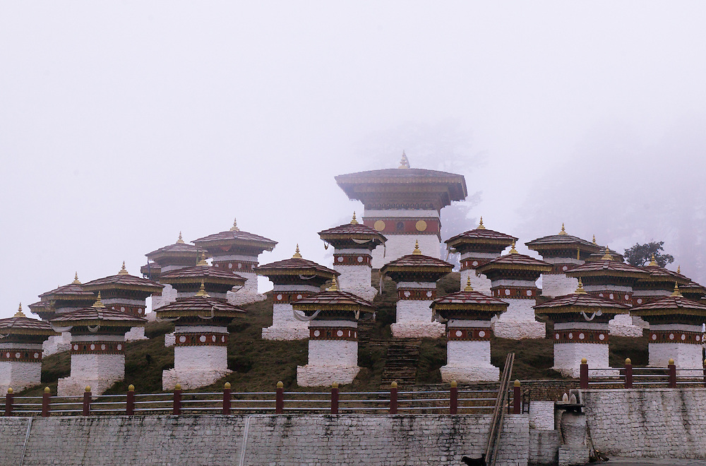 The Dochula Pass in Bhutan.