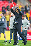Javi Gracia, Head Coach of Watford FC thanking the Watford FC supporters following the FA Cup semi-final match between Watford and Wolverhampton Wanderers at Wembley Stadium in London, England on 7 April 2019.