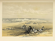 St. Jean D'Acre (Saint John of Acre) from land. From The Holy Land : Syria, Idumea, Arabia, Egypt & Nubia by Roberts, David, (1796-1864) Engraved by Louis Haghe. Volume 2. Book Published in 1855 by D. Appleton & Co., 346 & 348 Broadway in New York.