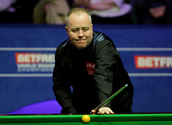 John Higgins during day seventeen of the 2018 Betfred World Championship at The Crucible, Sheffield.