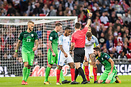 yellow card for England (6) John Stones during the FIFA World Cup Qualifier match between England and Slovenia at Wembley Stadium, London, England on 5 October 2017. Photo by Sebastian Frej.