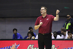 September 17, 2018 - Quezon City, NCR, Philippines - Timothy Charles Lewis coaches Qatar on the sidelines of their game against the Philippines. (Credit Image: © Dennis Jerome S. Acosta/Pacific Press via ZUMA Wire)