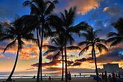 Waikiki Beach at sunset in Honolulu, Hawaii