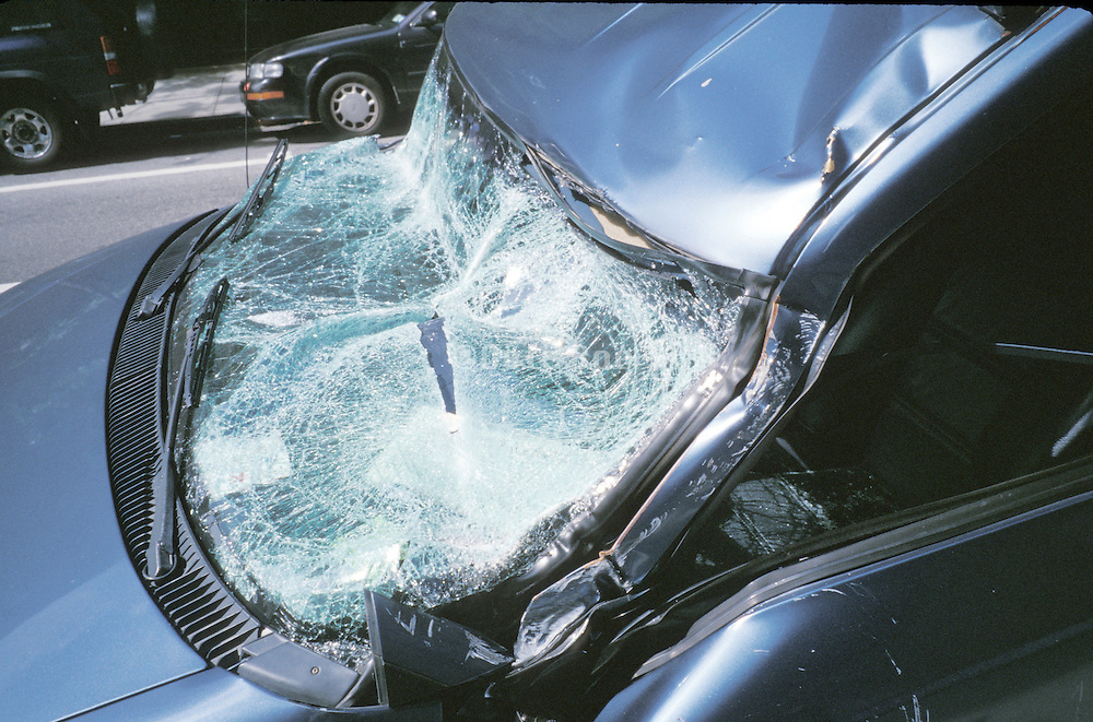 smashed in windshield