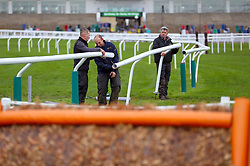 Staff contruct fencing ahead of the days racing at St Patrick's Thursday of the 2019 Cheltenham Festival at Cheltenham Racecourse.