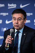 FC Barcelona president Josep Maria Bartomeu during the presentation of Quique Setien, new coach of FC Barcelona on January 14, 2020 at Camp Nou in Barcelona, Spain - Photo Marc Gonzalez Aloma / Spain ProSportsImages / DPPI / ProSportsImages / DPPI