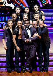 Presenter Ore Oduba (front centre) poses with AJ Pritchard, Joe Sugg, Johannes Radebe, Graziano Di Prima, Aljaz Skorjanec, Giovanni Pernice, Dr Ranj Singh, Pasha Kovalev and Graeme Swann during a photocall before the opening night of the Strictly Come Dancing Tour 2019 at the Arena Birmingham, in Birmingham. Picture date: Thursday January 17, 2019. Photo credit should read: Aaron Chown/PA Wire