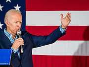 01 MAY 2019 - IOWA CITY, IOWA: Former Vice President JOE BIDEN gives his speech during his campaign event in Iowa City. Biden is running to be the Democratic nominee for the US Presidency in 2020. He is campaigning in Iowa City and Des Moines today. Iowa traditionally hosts the the first selection event of the presidential election cycle. The Iowa Caucuses will be on Feb. 3, 2020.                PHOTO BY JACK KURTZ