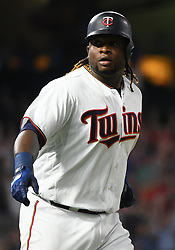 May 31, 2018 - Minneapolis, MN, U.S. - MINNEAPOLIS, MN - MAY 31: Minnesota Twins Third base Miguel Sano (22) points to the Twins dugout after hitting a 3-run home run in the bottom of the 7th during a MLB game between the Minnesota Twins and Cleveland Indians on May 31, 2018 at Target Field in Minneapolis, MN. The Indians defeated the Twins 9-8.(Photo by Nick Wosika/Icon Sportswire) (Credit Image: © Nick Wosika/Icon SMI via ZUMA Press)