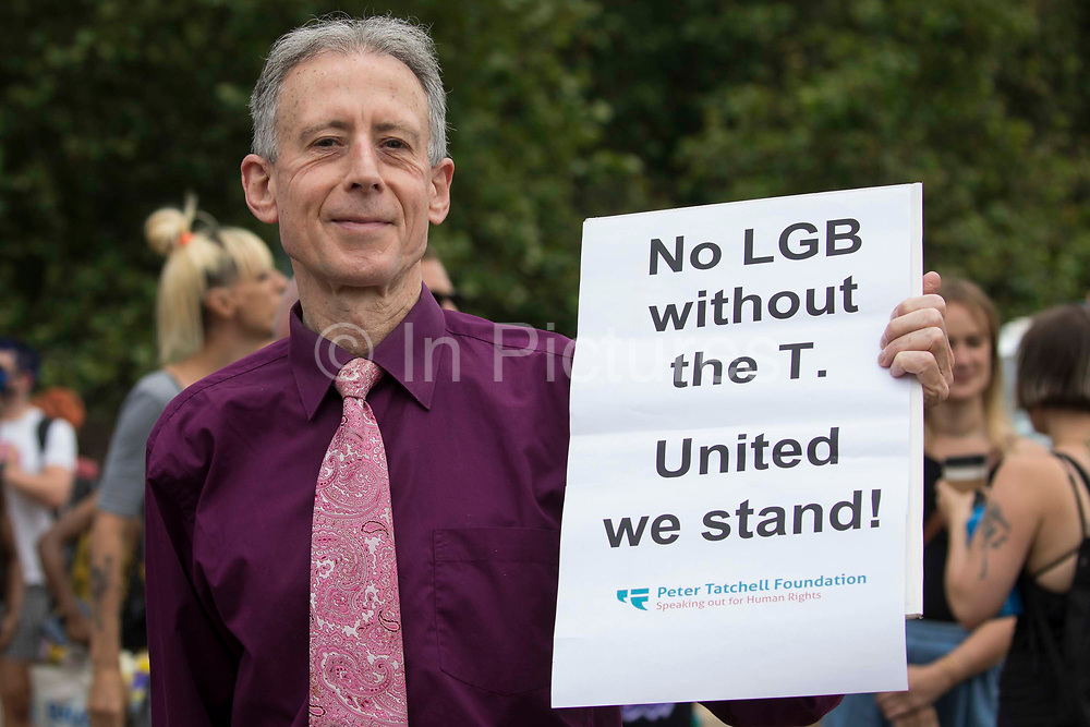 Veteran LGBT+ and human rights campaigner Peter Tatchell poses with a poster as thousands of people assemble to take part in a London Trans+ Pride march from the Wellington Arch to Soho Square on 26th June 2021 in London, United Kingdom. London Trans+ Pride is a grassroots protest event which is not affiliated with Pride in London and focuses on creating a space for the London trans, non-binary, intersex and GNC community to come together to celebrate their identities and to fight for their rights.