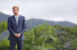 Prince Harry before making a speech during a youth rally at Brimstone Hill Fortress where he watched a number of cultural performances all led by the young people after arriving on the island of St Kitts for the second leg of his Caribbean tour.