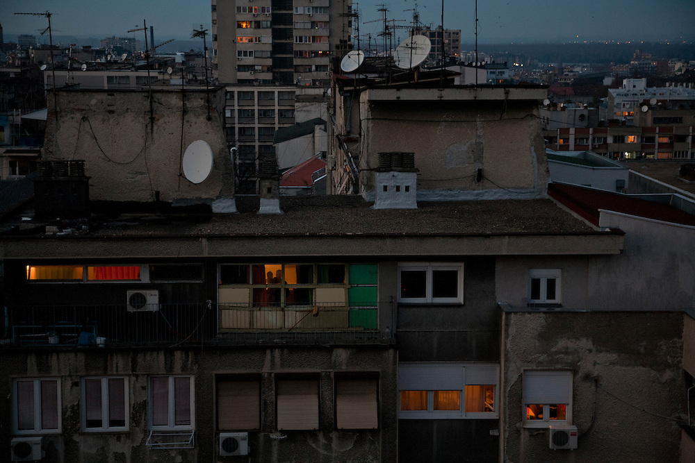 Neighbors in apartment blocks in Palilula, Belgrade.