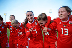 ZENICA, BOSNIA AND HERZEGOVINA - Tuesday, November 28, 2017: Wales' Natasha Harding and Alice Griffiths celebrate after the 1-0 victory over Bosnia and Herzegovina during the FIFA Women's World Cup 2019 Qualifying Round Group 1 match between Bosnia and Herzegovina and Wales at the FF BH Football Training Centre. (Pic by David Rawcliffe/Propaganda)