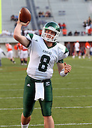 Oct 23, 2010; Charlottesville, VA, USA;  Eastern Michigan Eagles quarterback Alex Gillett (8) throws the ball before the game against the Virginia Cavaliers at Scott Stadium.  Mandatory Credit: Andrew Shurtleff