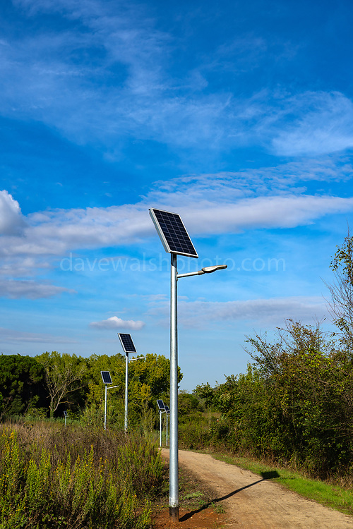 Solar panels on streetlights, Sant Cugat del Valles, Catalonia, Spain.