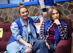 Jennifer Lopez and Leah Remini shoot their new show, Second Act. 24 Oct 2017 Pictured: Jennifer Lopez, Leah Remini. Photo credit: MEGA TheMegaAgency.com +1 888 505 6342