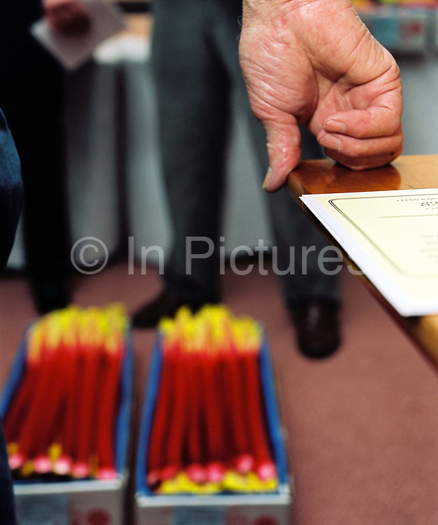 The hand of a judge leaning on a table whilst judging at the 82nd Annual Rhubarb Show, Cedar Court Hotel, Caldergrove, Wakefield.