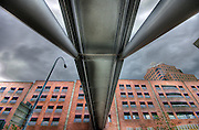 Looking up towards a pedestrian bridge in Rochester, New York.