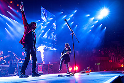 LOS ANGELES, CA - JUNE 20: Lead singer Fher Olvera and guitar player Sergio Vallin of legendary Mexican Rock band Mana perfoms on stage during their Cama Incendiada Tour at Staples Center on June 20, 2015 in Los Angeles, California. Byline, credit, TV usage, web usage or linkback must read SILVEXPHOTO.COM. Failure to byline correctly will incur double the agreed fee. Tel: +1 714 504 6870.